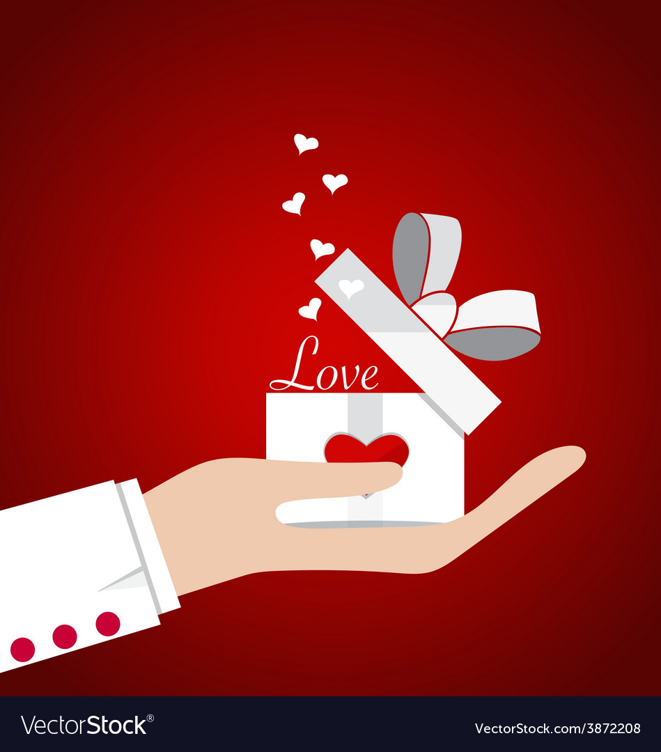 Happy valentines day hand with valentines day gift vector | Price: 1 Credit (USD $1)