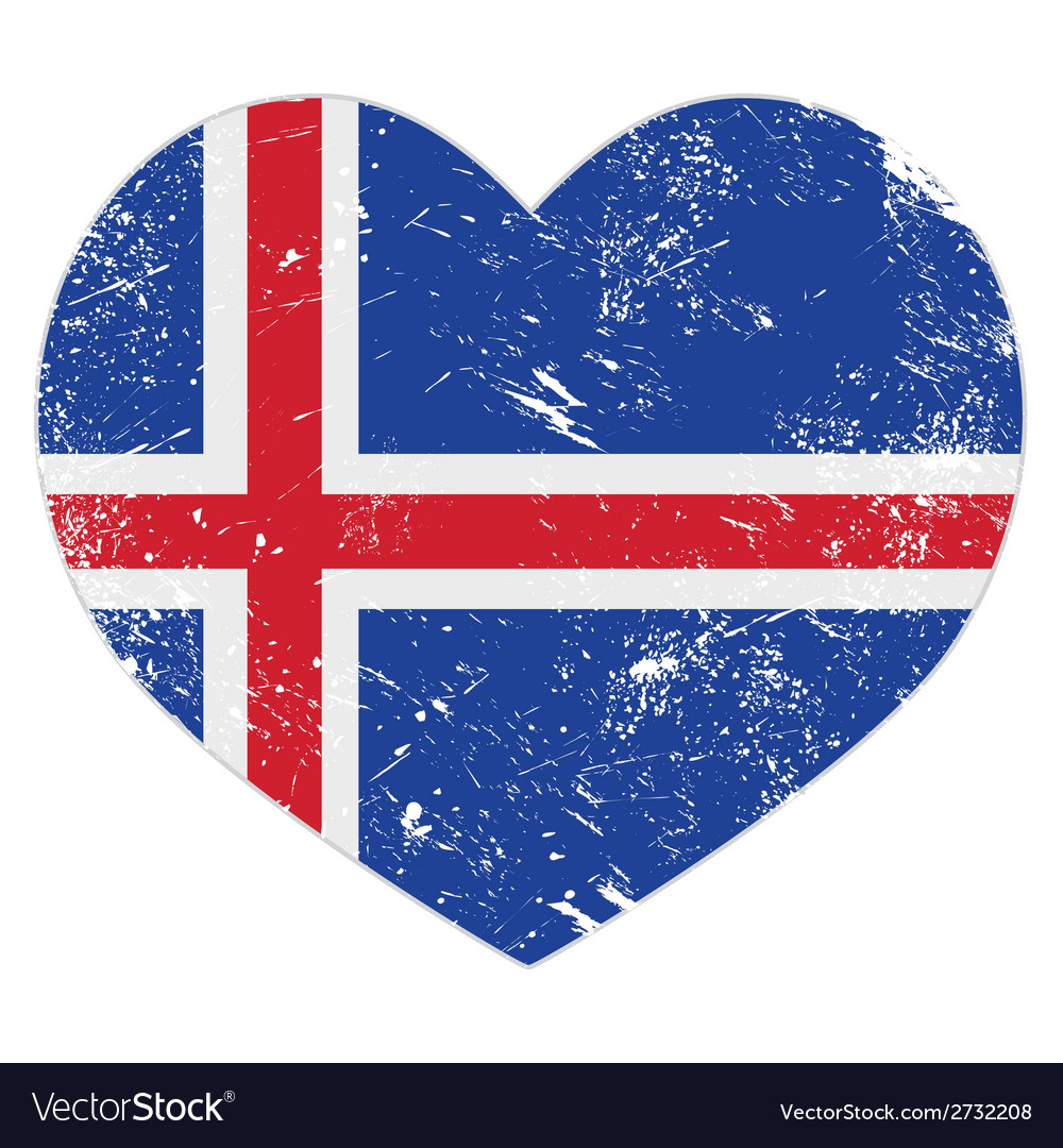 Iceland heart retro flag vector | Price: 1 Credit (USD $1)
