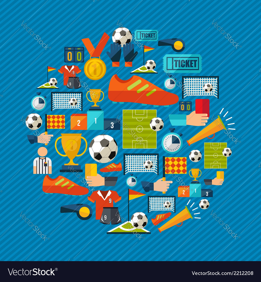 Soccer icons set shape circle vector | Price: 1 Credit (USD $1)