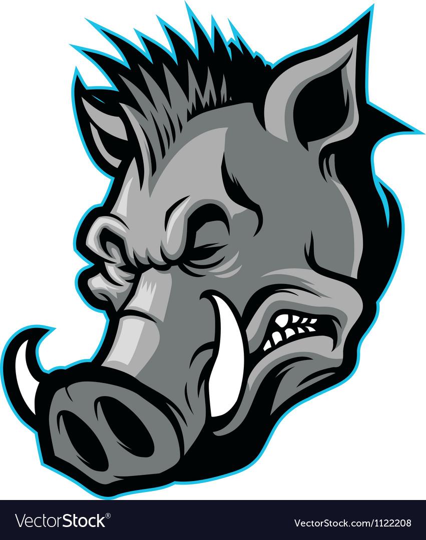 Wild boar head mascot vector   Price: 1 Credit (USD $1)