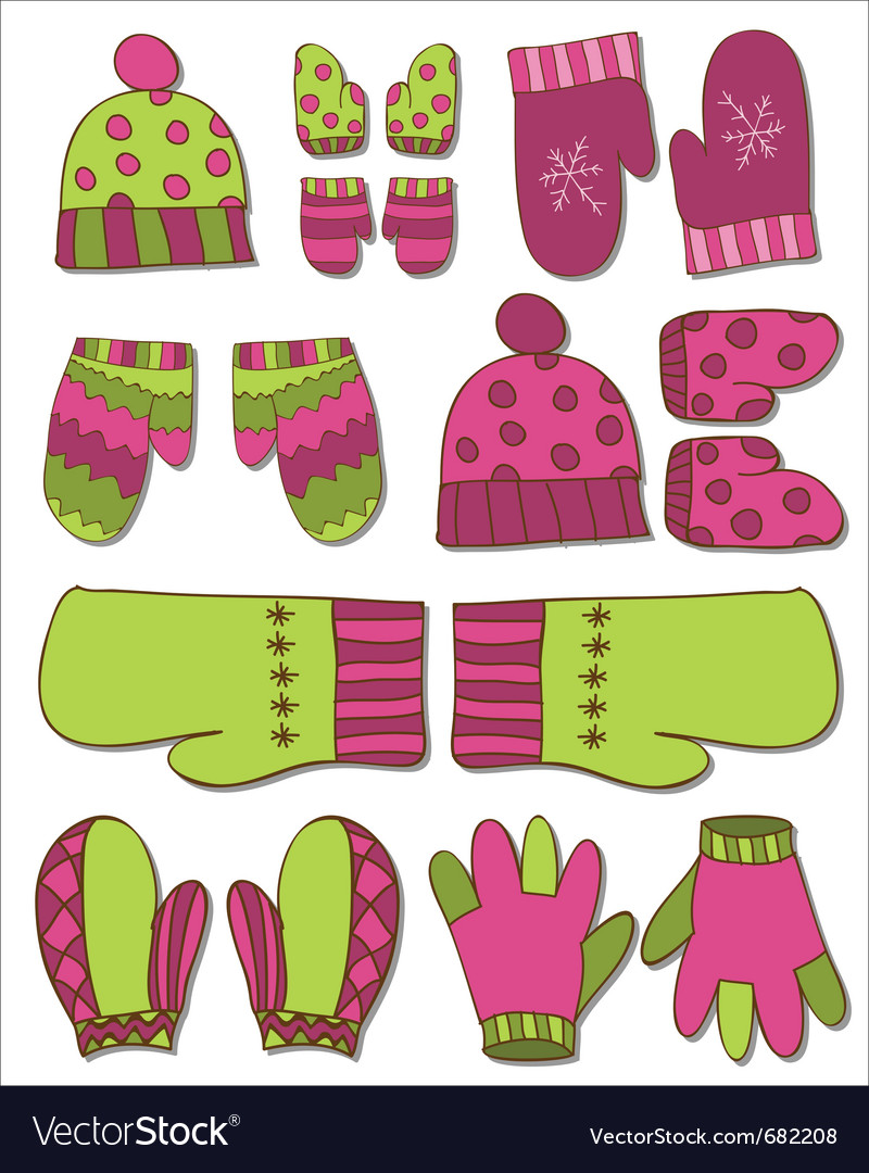 Winter gloves set vector | Price: 1 Credit (USD $1)