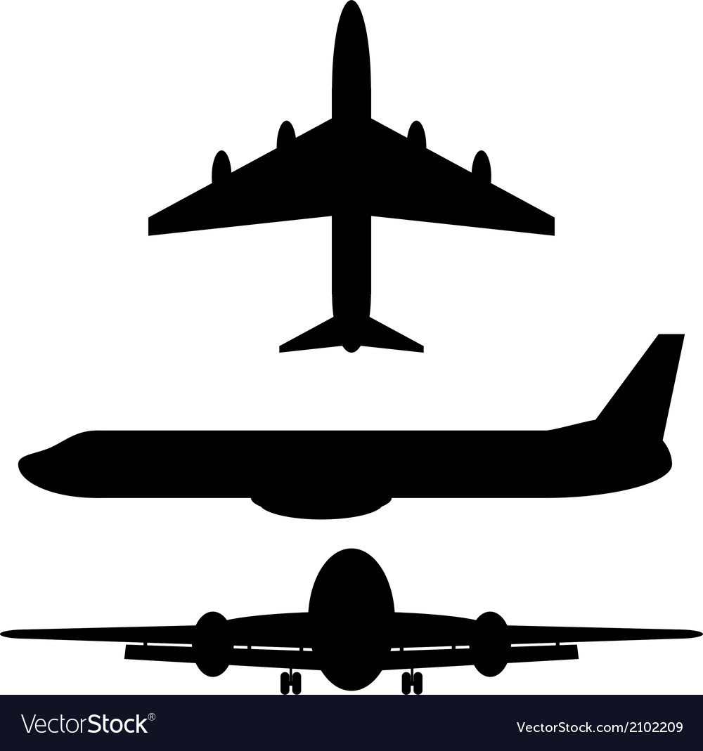 Airplane silhouette icons vector | Price: 1 Credit (USD $1)