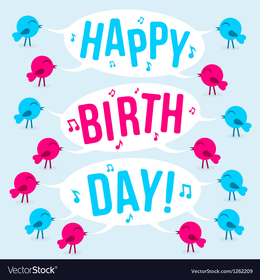 Birds with text happy birthday vector | Price: 1 Credit (USD $1)