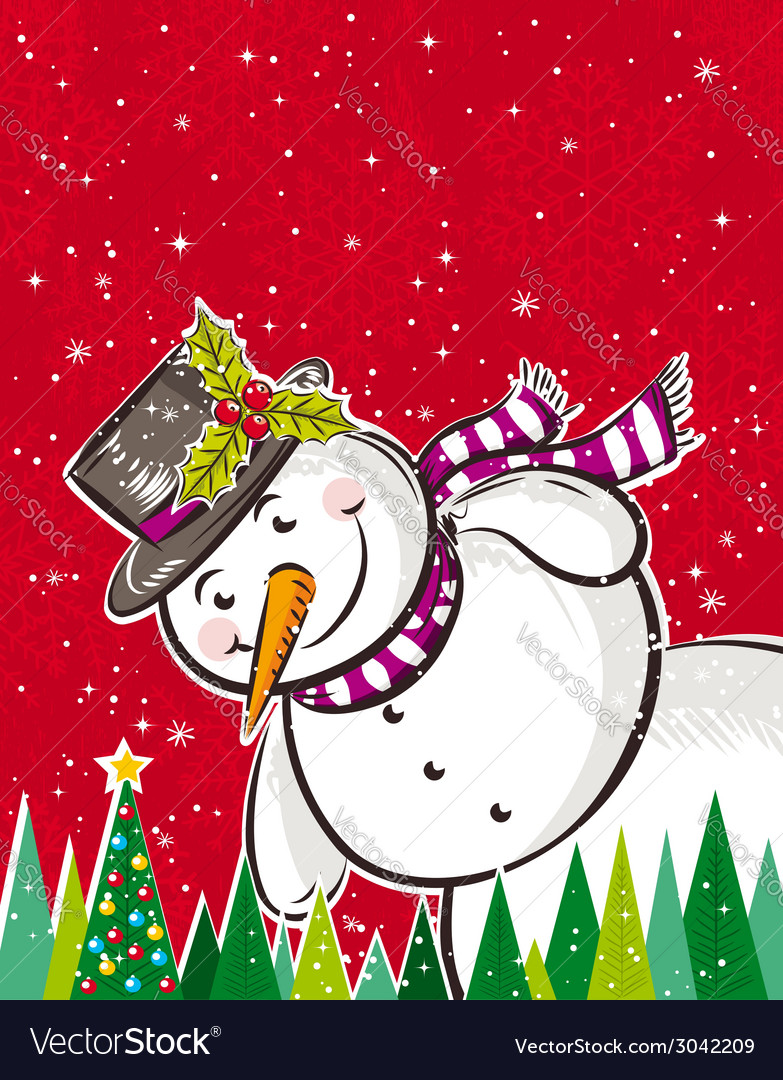 Christmas background with snowman and forest of pi vector | Price: 1 Credit (USD $1)