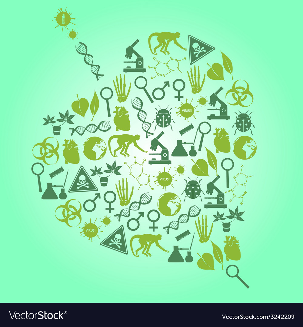 Color biology icons set in leaf shape eps10 vector | Price: 1 Credit (USD $1)