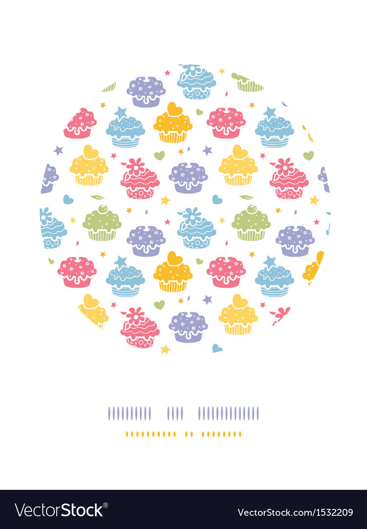Colorful cupcake party circle decor pattern vector | Price: 1 Credit (USD $1)
