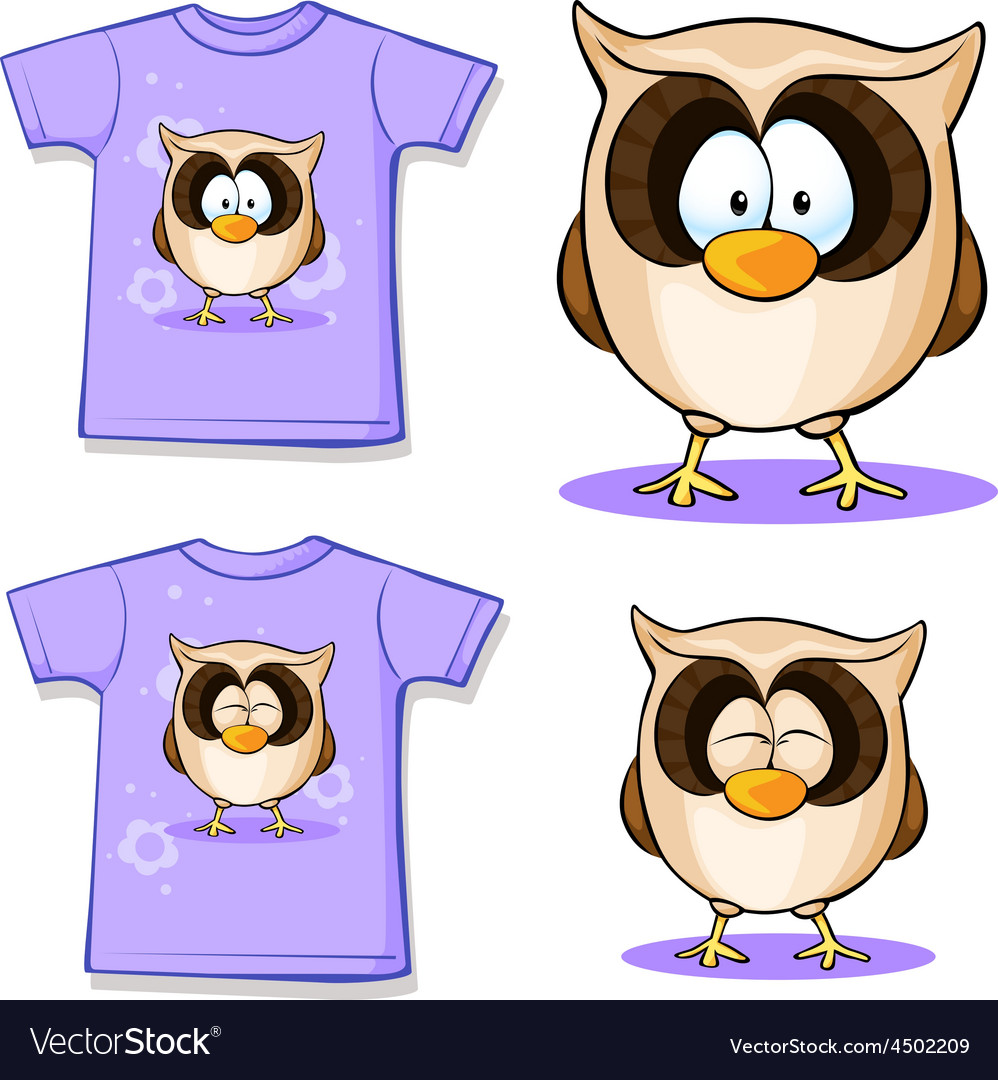 Cute owl printed on shirt vector   Price: 1 Credit (USD $1)