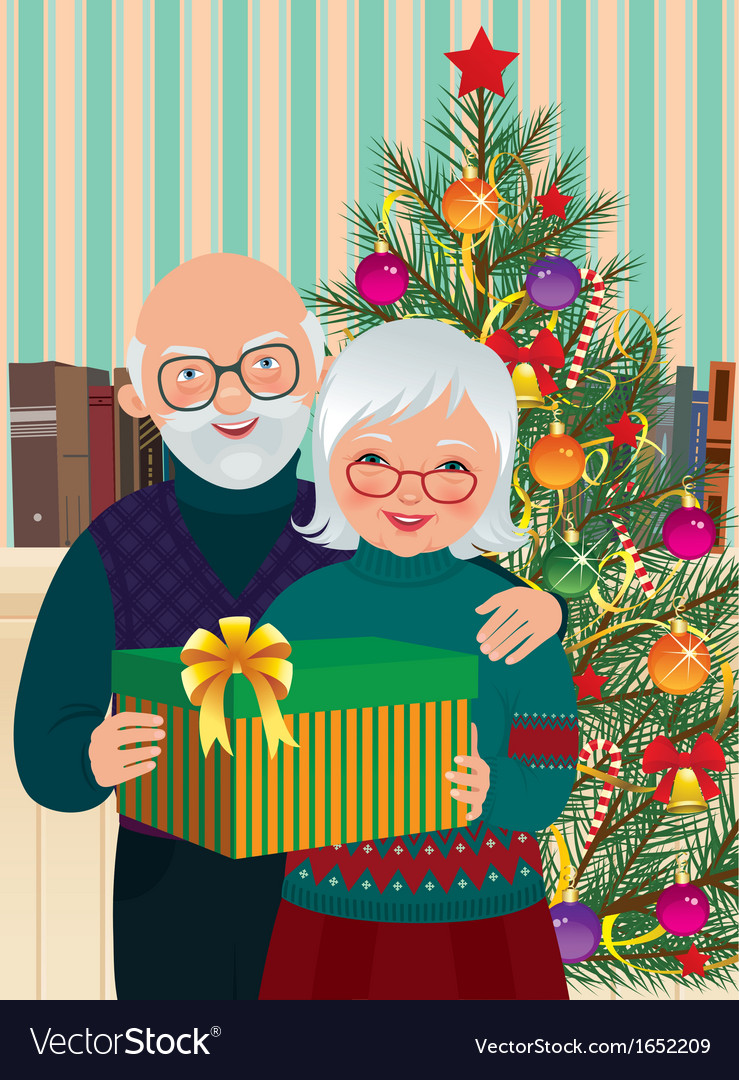 Elderly couple celebrating christmas vector | Price: 3 Credit (USD $3)