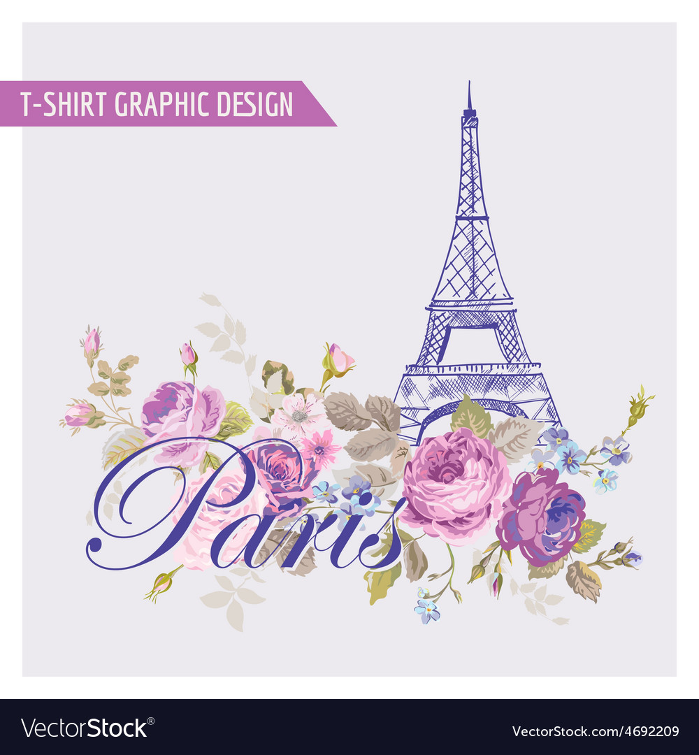 Floral paris graphic design - for t-shirt vector | Price: 1 Credit (USD $1)