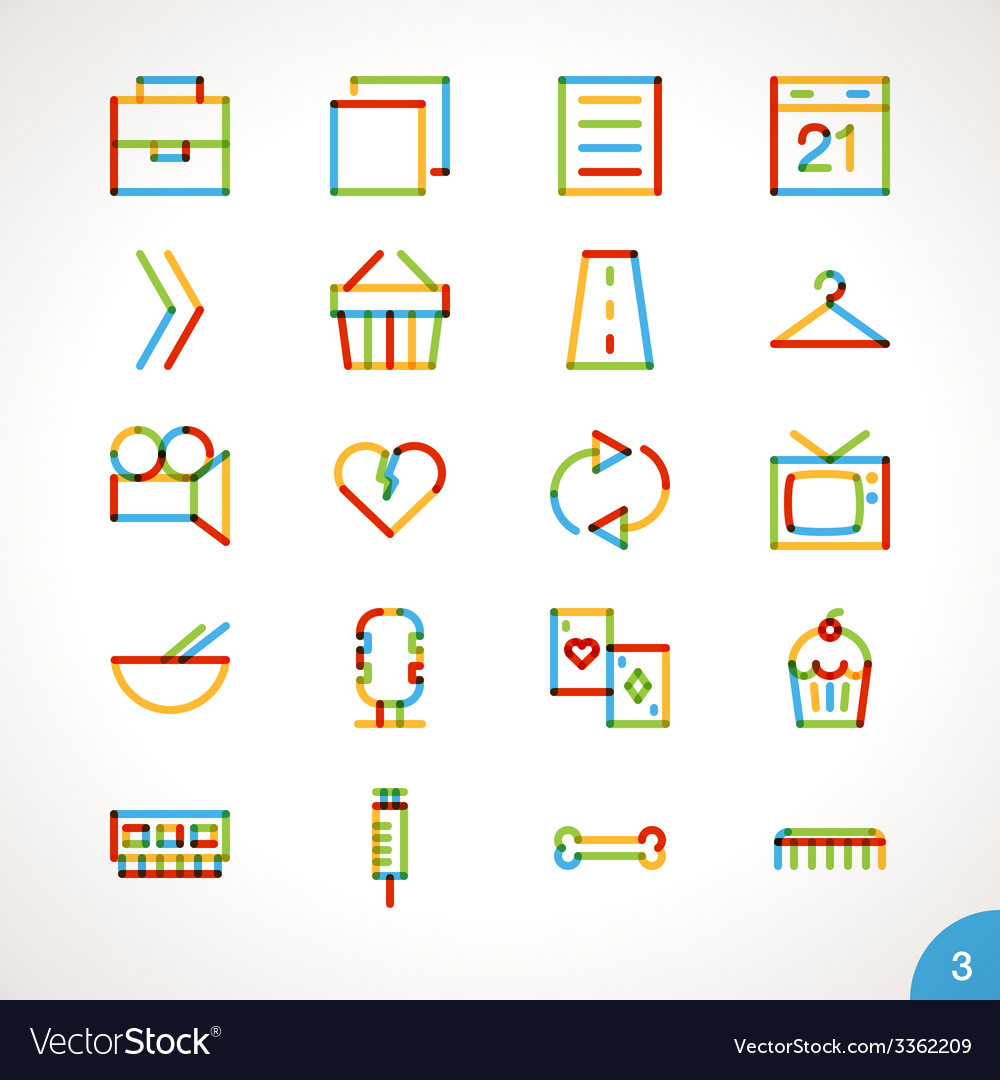 Highlighter line icons set 3 vector | Price: 1 Credit (USD $1)