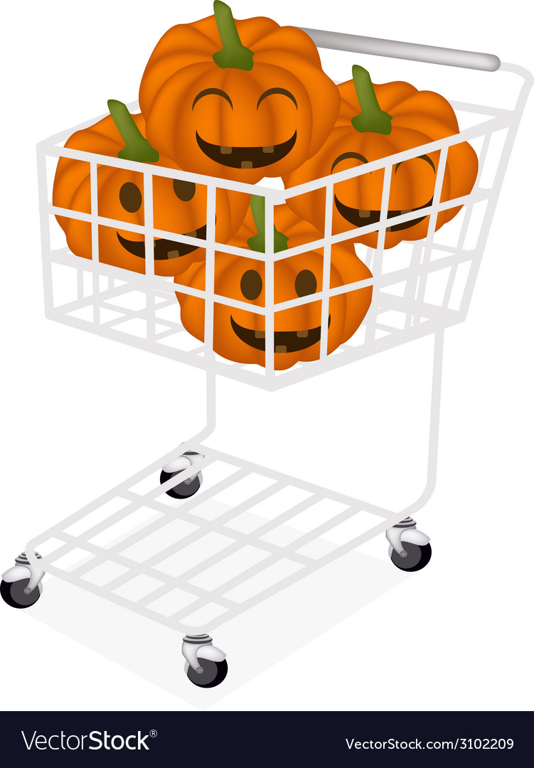Jack-o-lantern pumpkins in a shopping cart vector | Price: 1 Credit (USD $1)