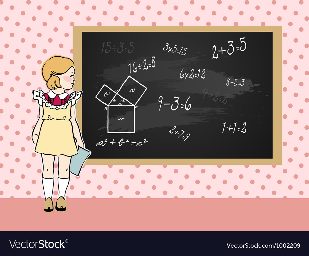 Maths girl vector | Price: 1 Credit (USD $1)