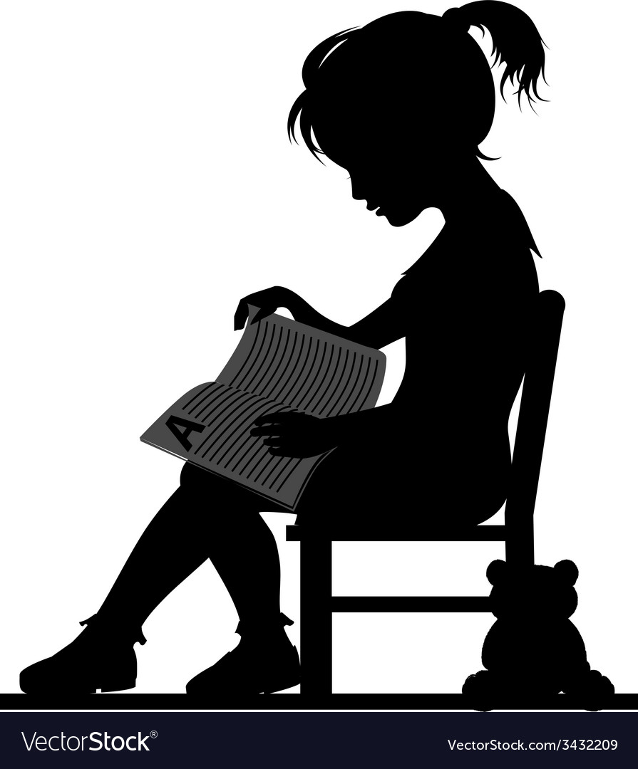 Reading little girl vector | Price: 1 Credit (USD $1)