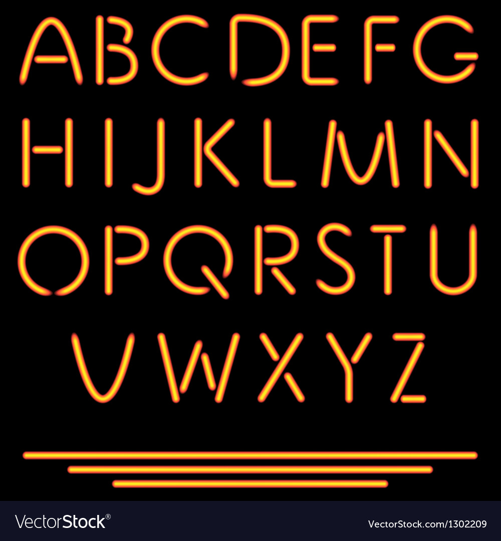 Realistic neon tube letters  neon alphabet vector | Price: 1 Credit (USD $1)