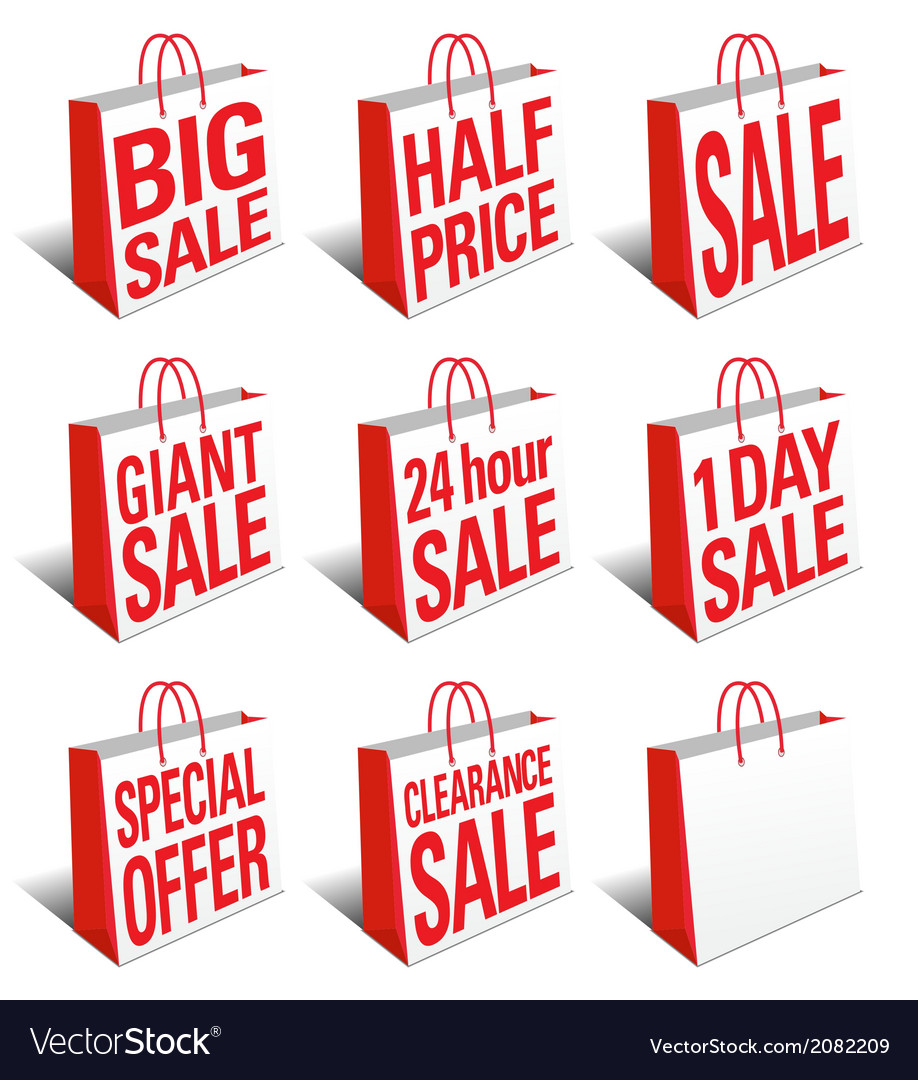 Sale shopping bags carrier bags icons symbols vector | Price: 1 Credit (USD $1)