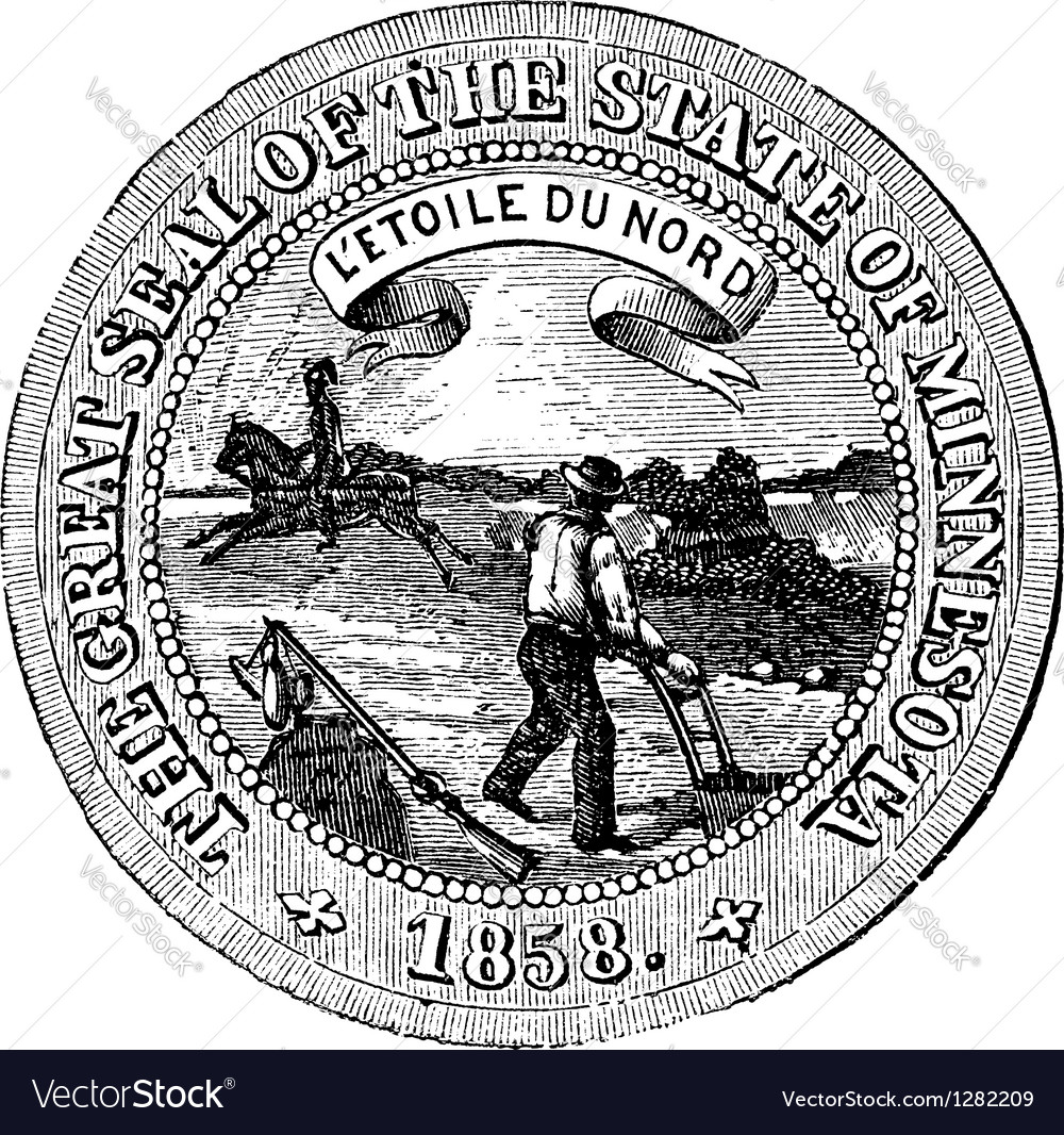 Seal of the state of minnesota vintage engraving vector | Price: 1 Credit (USD $1)
