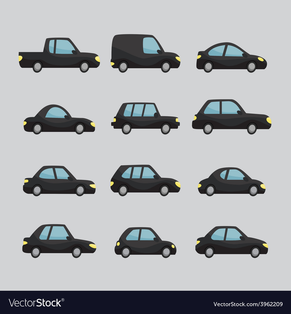 Set of cartoon cars design vector | Price: 1 Credit (USD $1)