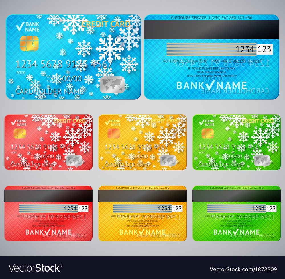 Set of realistic credit card two sides vector | Price: 1 Credit (USD $1)