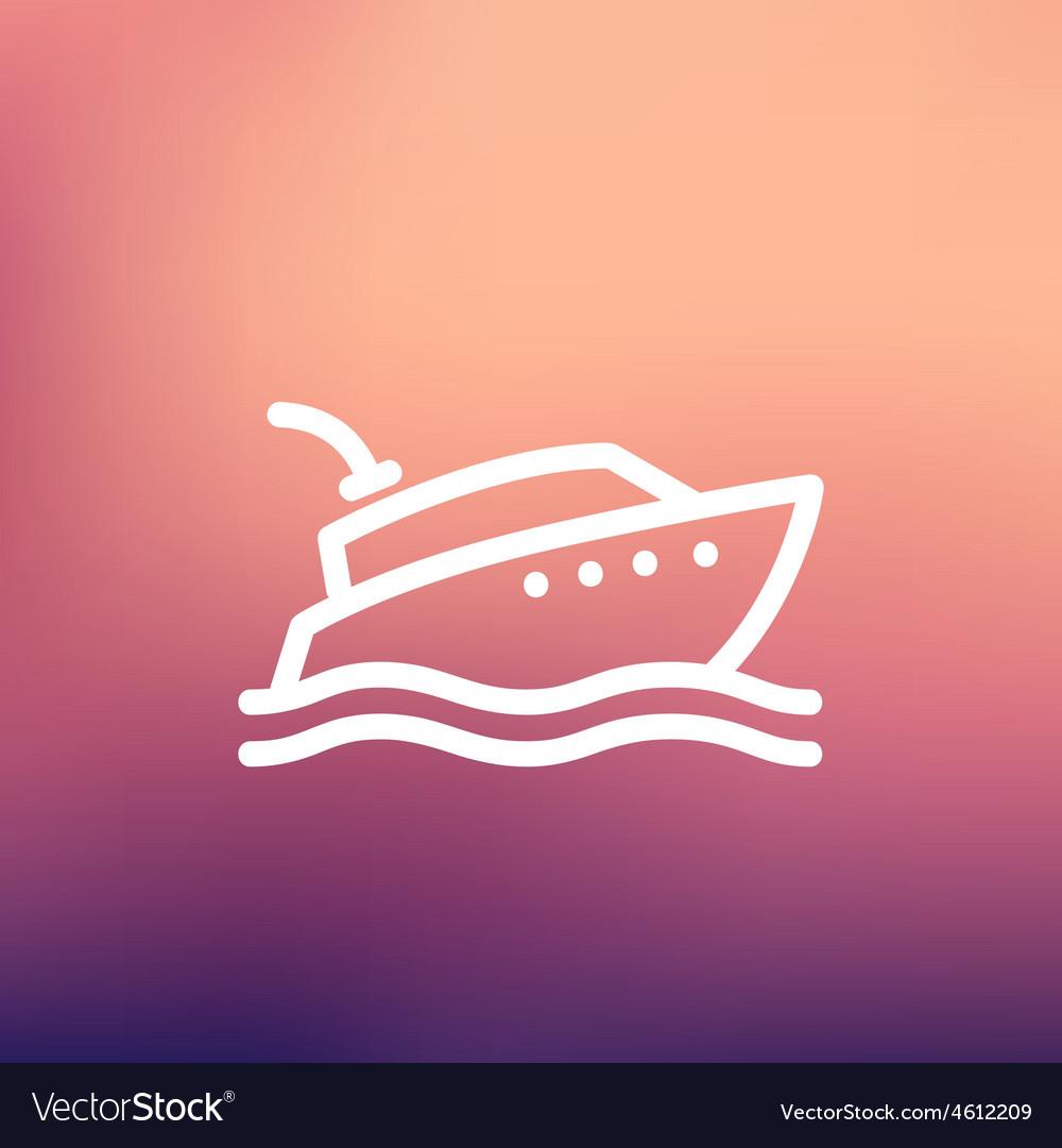 Yacht thin line icon vector