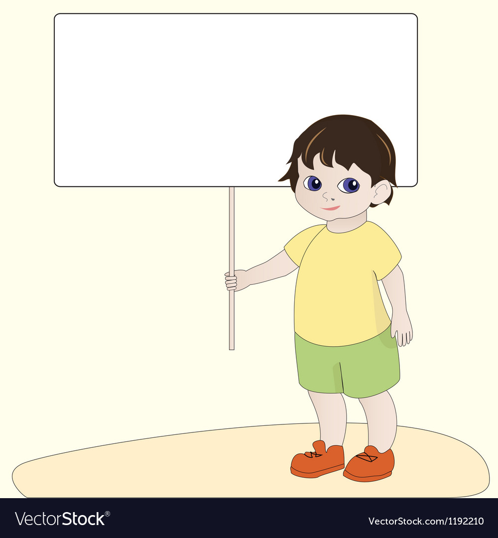Boy holding blank banner vector | Price: 1 Credit (USD $1)