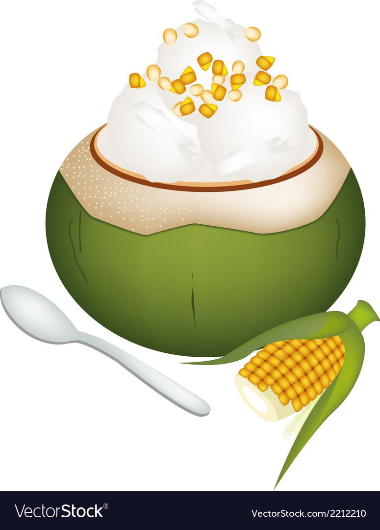Coconut ice cream with sweetcorns vector | Price: 1 Credit (USD $1)