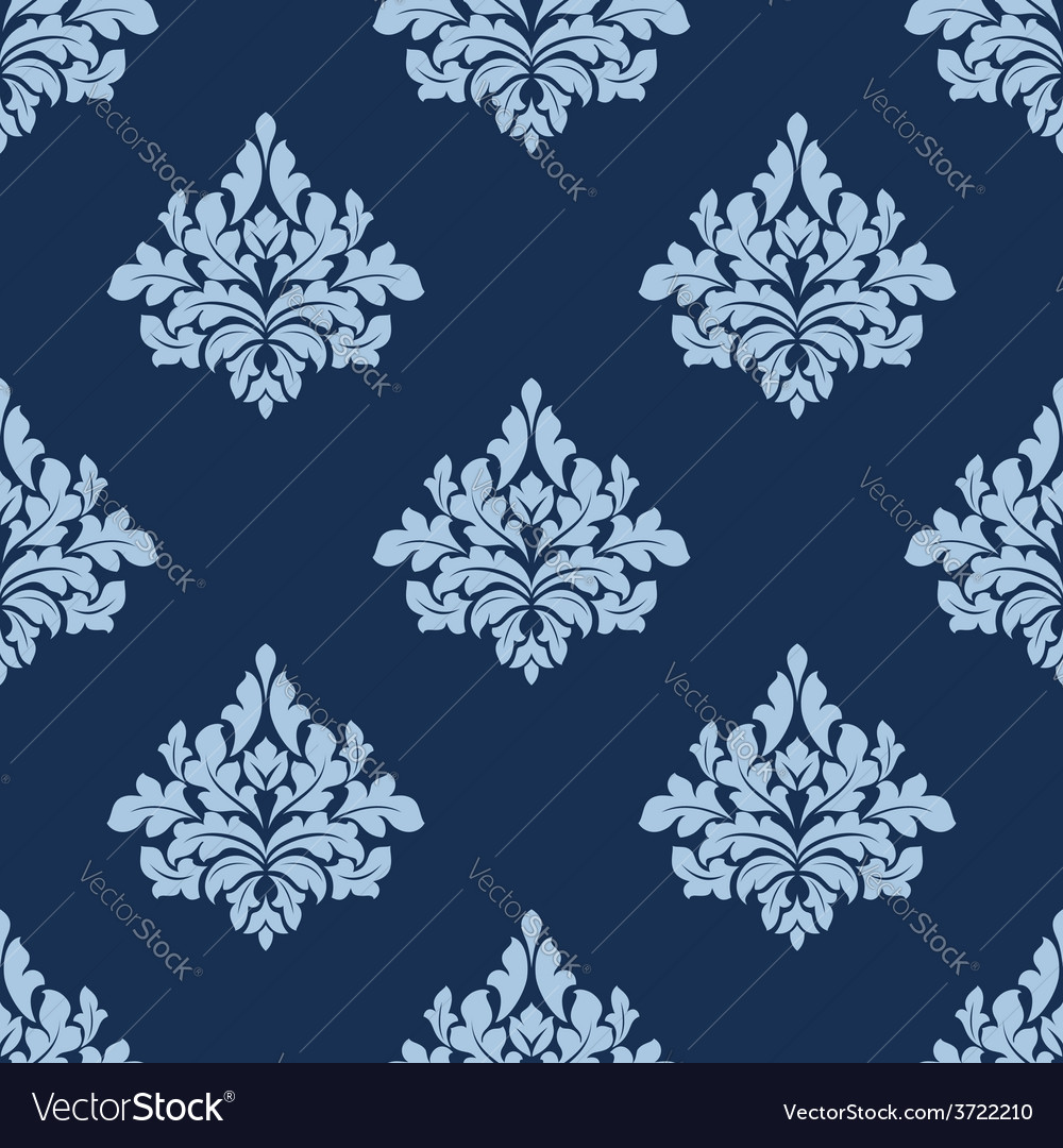 Foliage seamless pattern with blue damask tracery vector | Price: 1 Credit (USD $1)