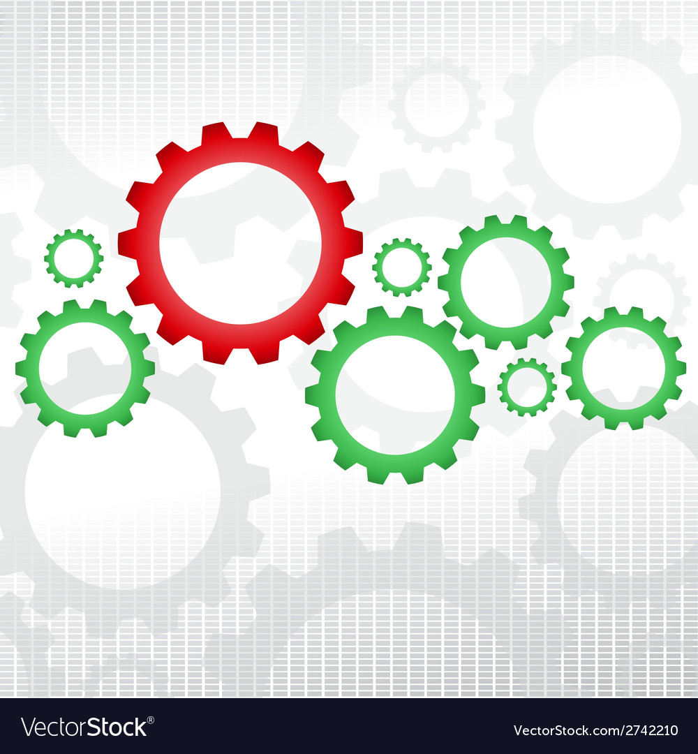 Green and red gears vector | Price: 1 Credit (USD $1)