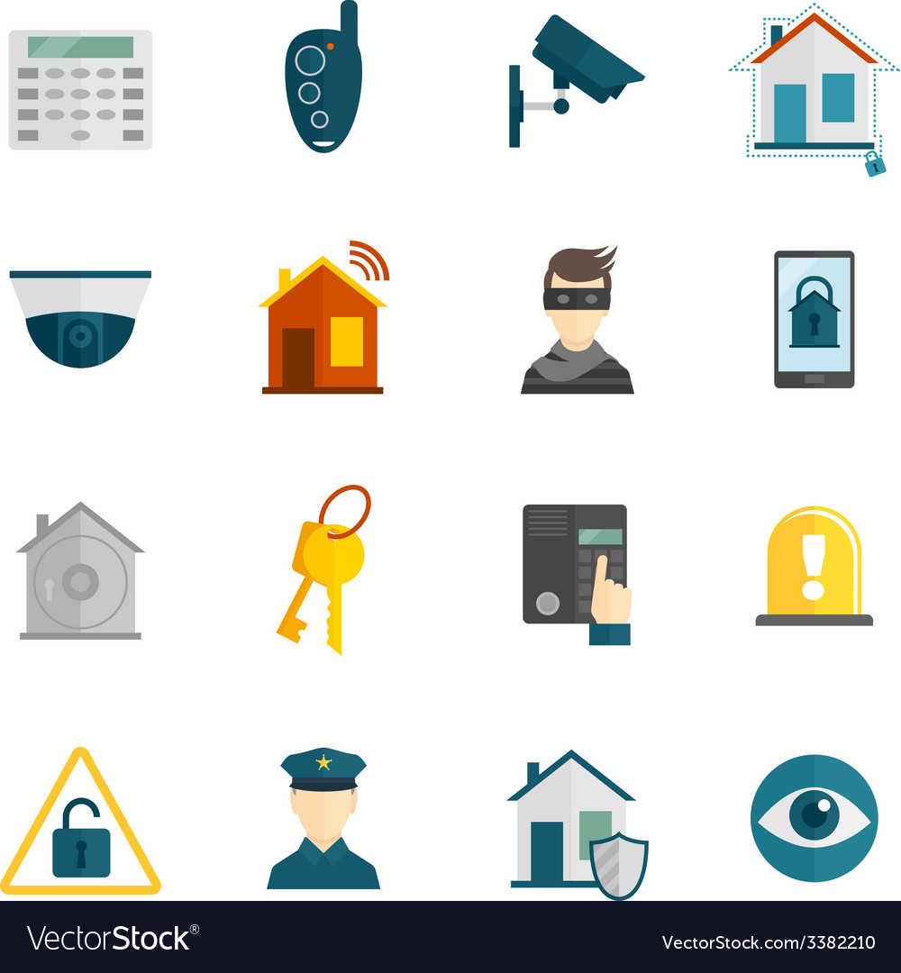Home security icon flat vector | Price: 1 Credit (USD $1)