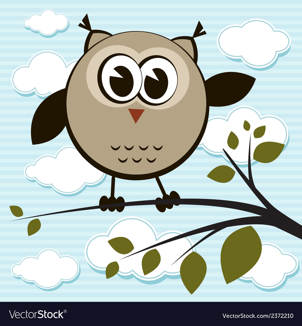 Owl on the tree vector | Price: 1 Credit (USD $1)