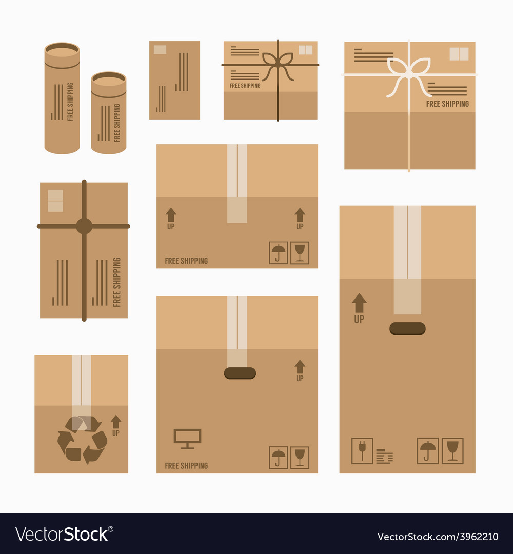 Paper boxes set product package mockup design vector | Price: 1 Credit (USD $1)