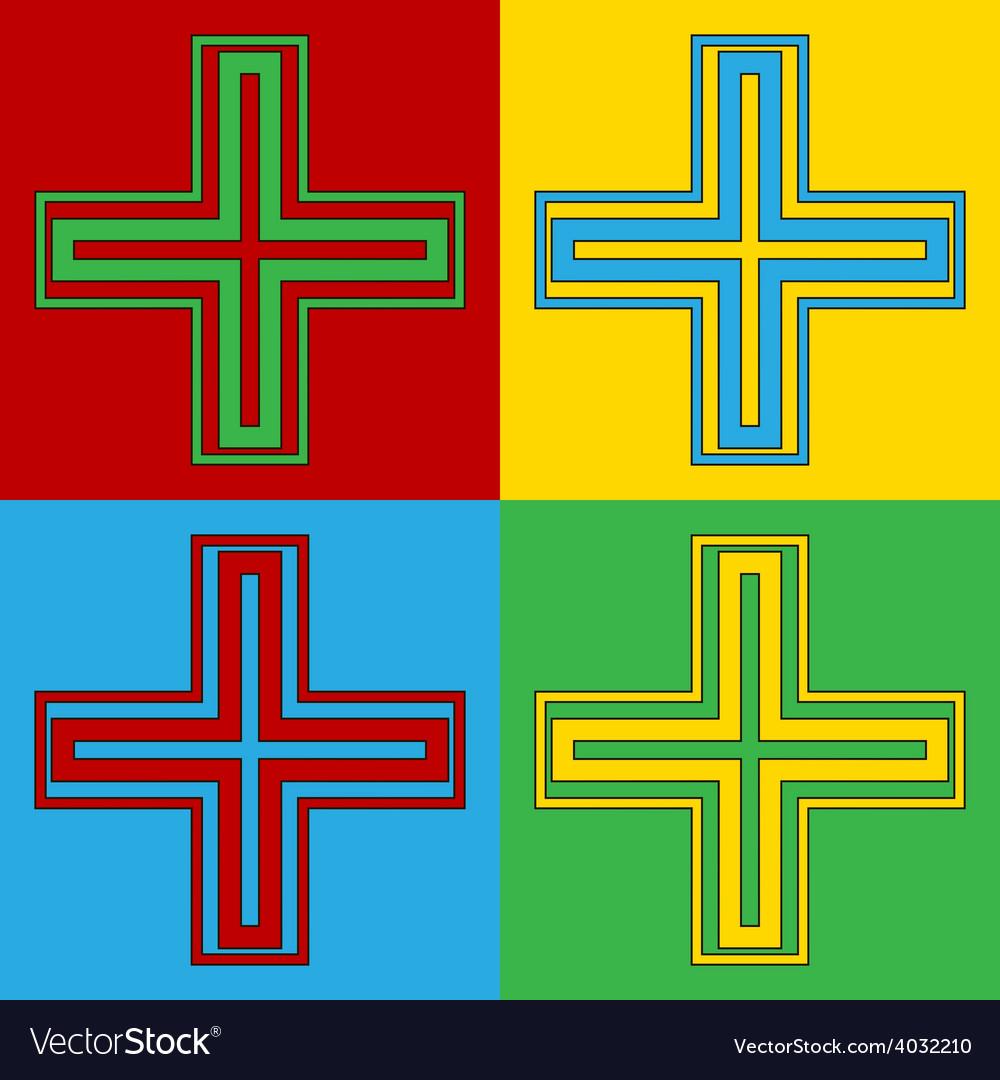 Pop art religious cross icons vector | Price: 1 Credit (USD $1)