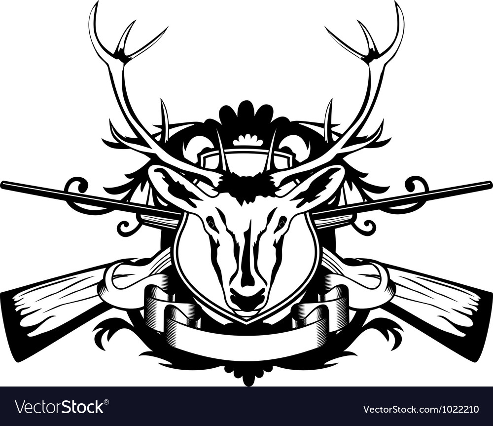 Rossed guns and head of deer vector | Price: 1 Credit (USD $1)