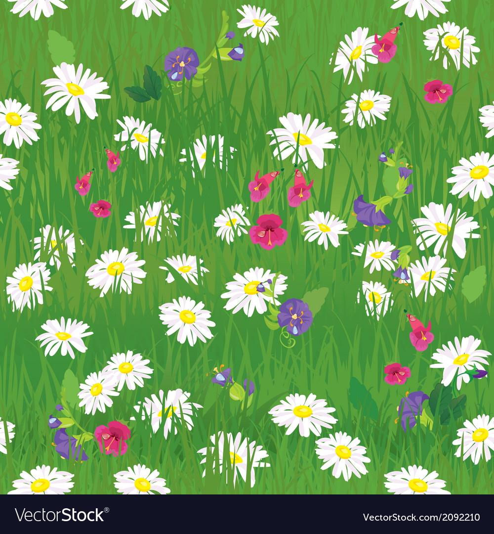 Seamless pattern - texture of grass and wild flowe vector | Price: 1 Credit (USD $1)