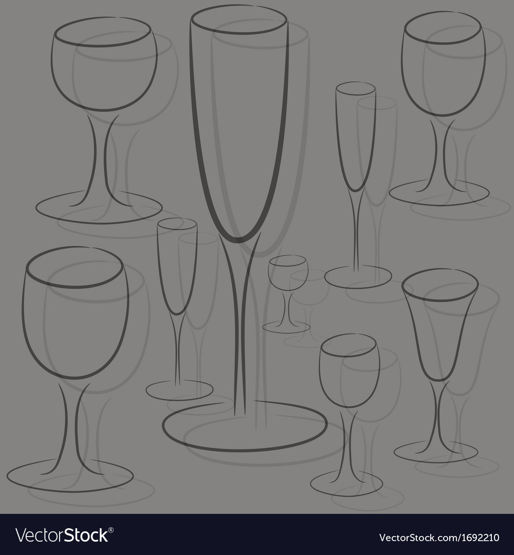 Set of glasses of different sizes vector | Price: 1 Credit (USD $1)