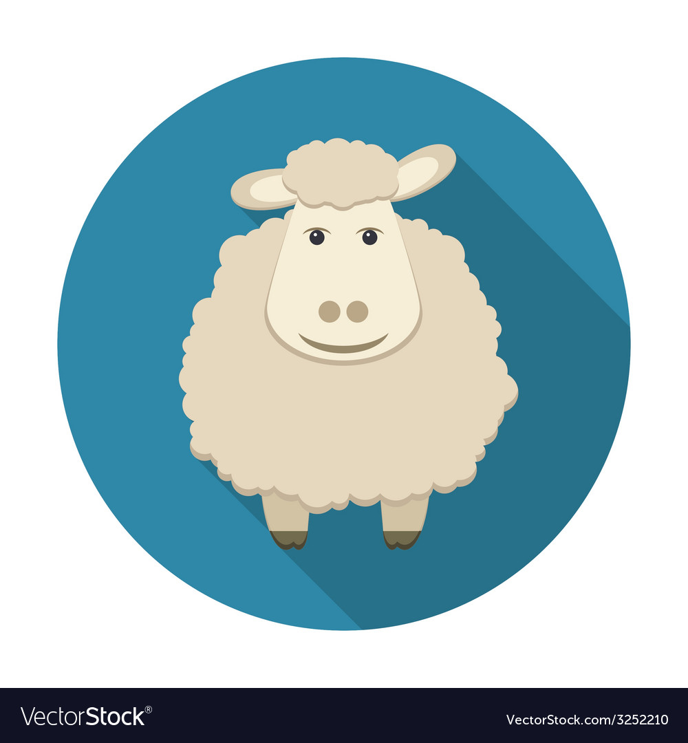 Sheep icon with long shadow vector | Price: 1 Credit (USD $1)