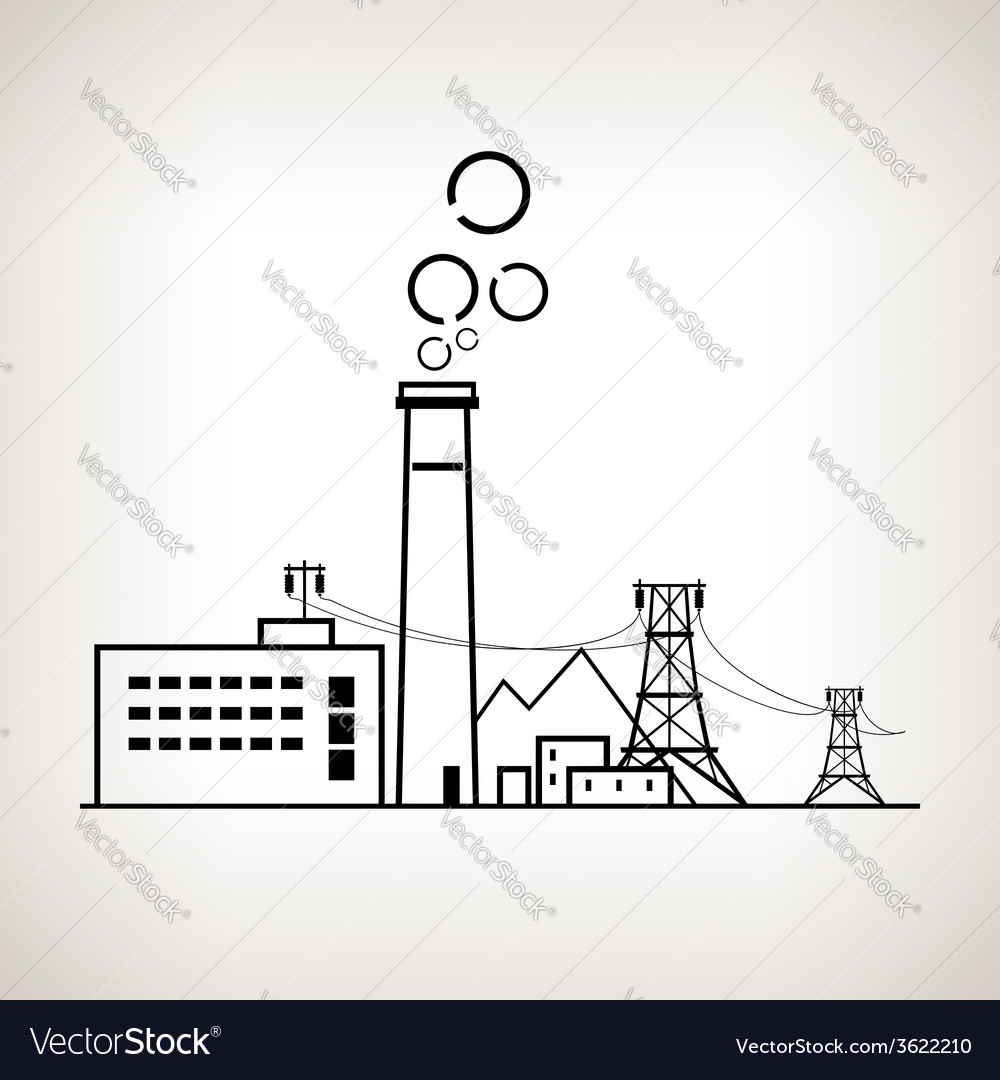Silhouette coal power station vector | Price: 1 Credit (USD $1)