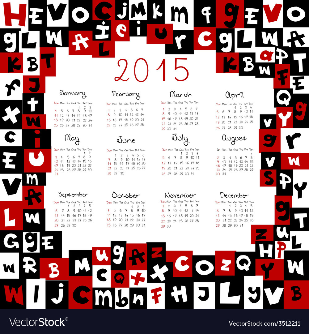 2015 calendar with letters vector | Price: 1 Credit (USD $1)
