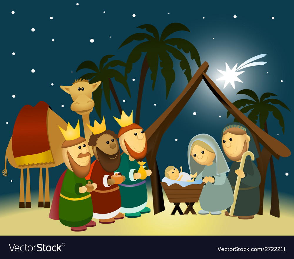 Cartoon nativity scene with holy family vector | Price: 1 Credit (USD $1)