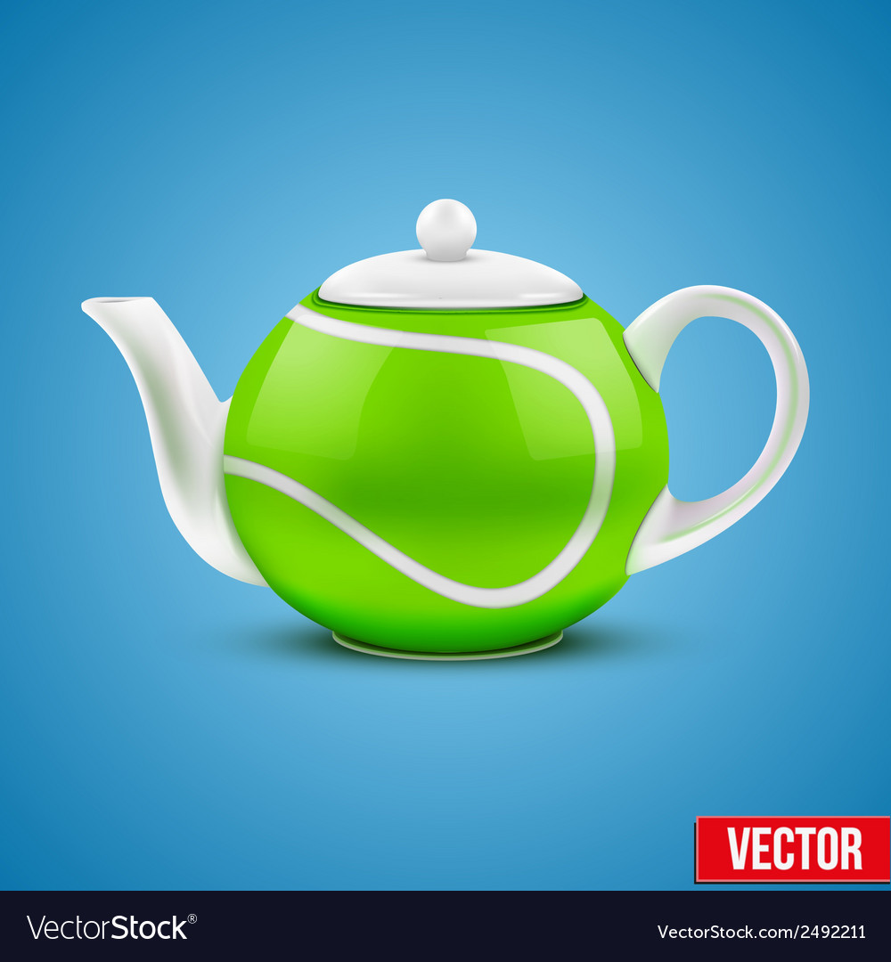 Ceramic teapot in tennis ball style vector | Price: 1 Credit (USD $1)