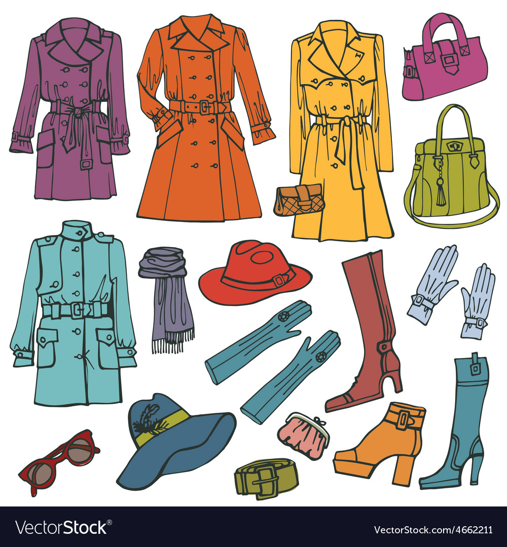 Fashion clothes setwoman wear vector   Price: 1 Credit (USD $1)