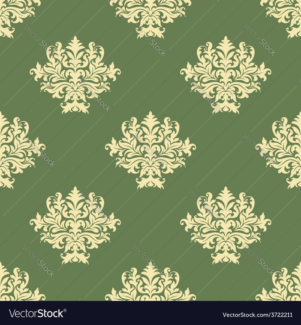 Foliate pattern with seamless baroque ornament vector | Price: 1 Credit (USD $1)