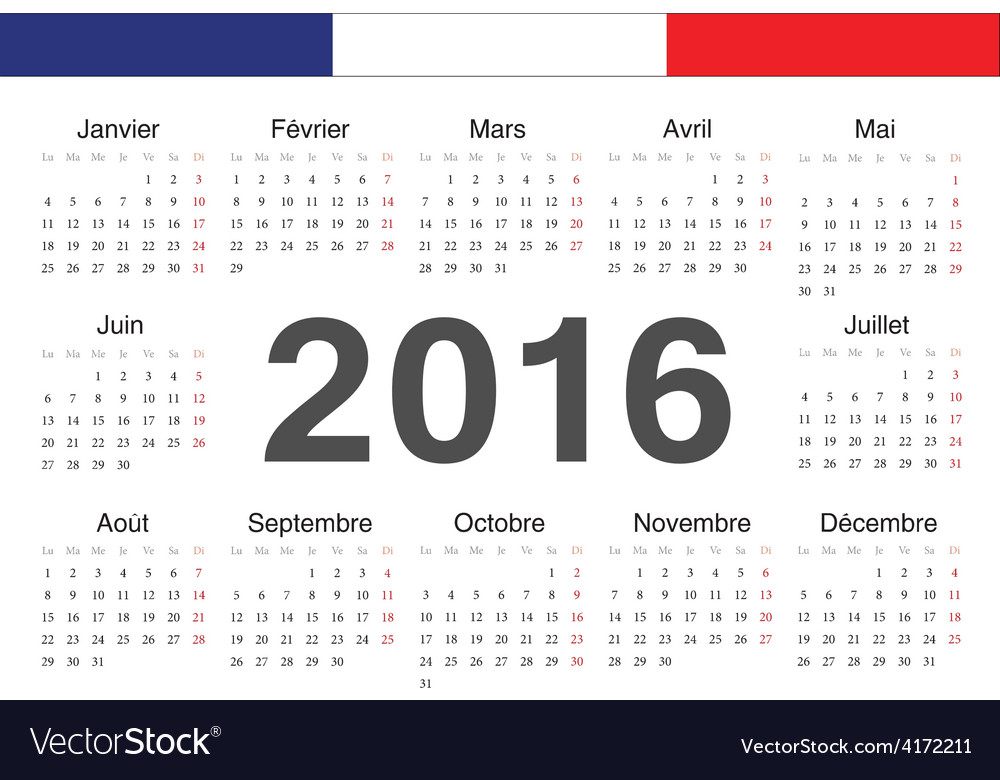 French rcircle calendar 2016 vector | Price: 1 Credit (USD $1)