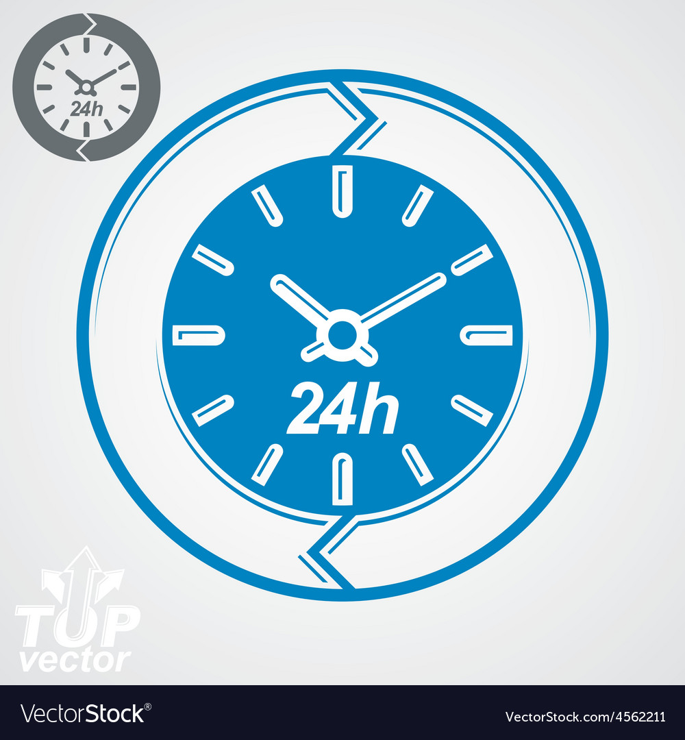 Graphic web 24 hours timer around-the-clock flat vector | Price: 1 Credit (USD $1)