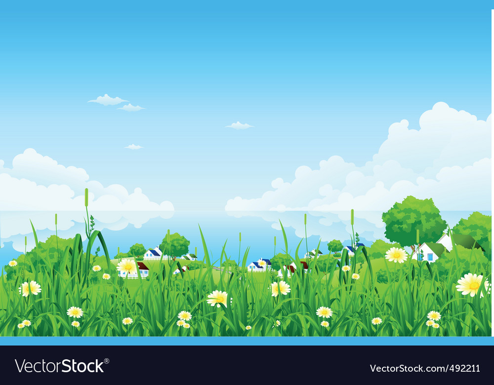 Green landscape with clouds vector | Price: 3 Credit (USD $3)