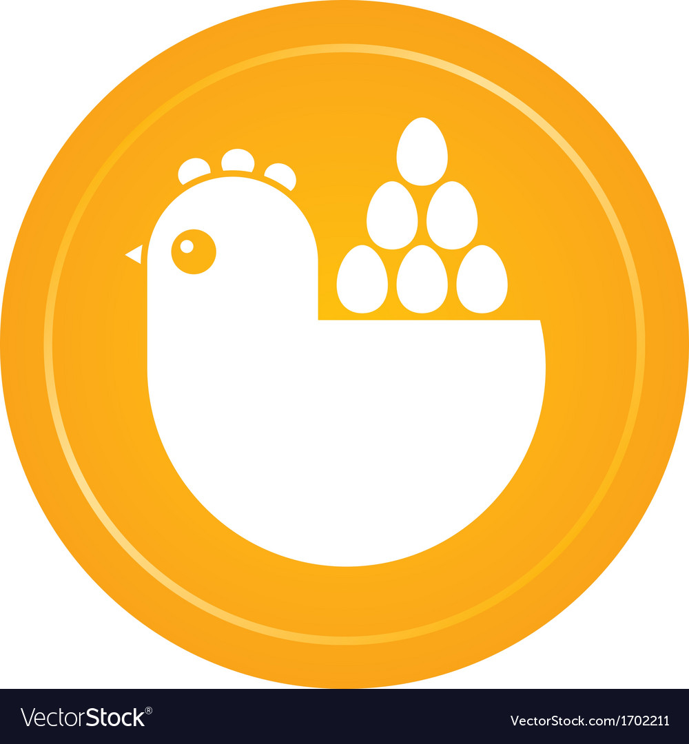 Hen and eggs emblem vector | Price: 1 Credit (USD $1)
