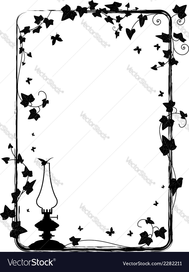 Ivy frame with kerosene lamp vector | Price: 1 Credit (USD $1)