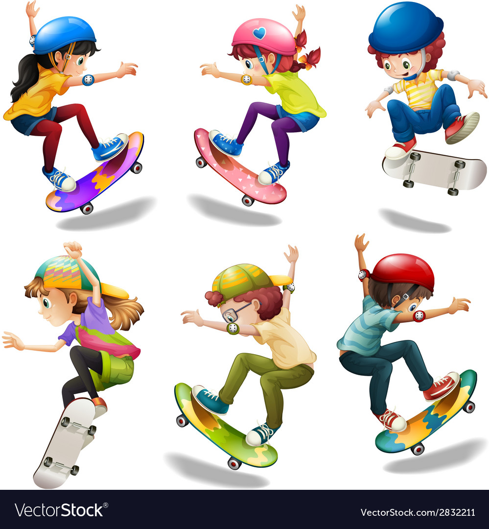 Male and female skaters vector | Price: 1 Credit (USD $1)