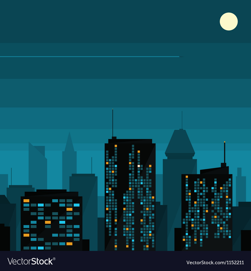 Night city with moon vector | Price: 1 Credit (USD $1)