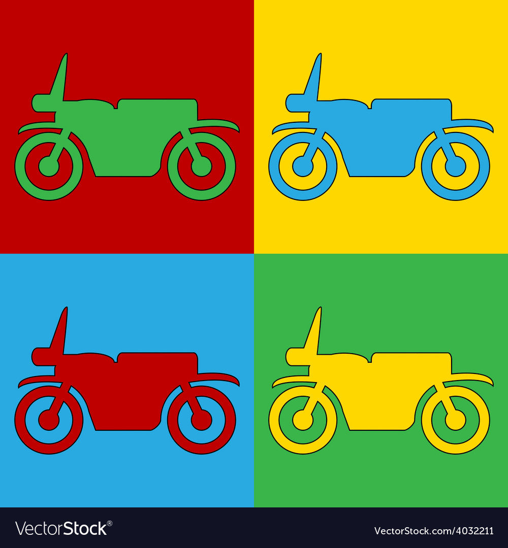 Pop art motorcycle icons vector | Price: 1 Credit (USD $1)