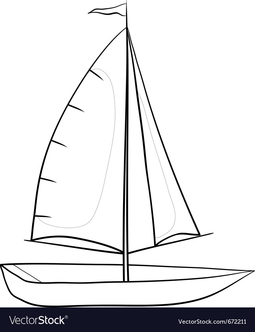 Sailing boat contours vector | Price: 1 Credit (USD $1)